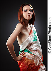 Sexy lady with a scarf - Sexy young redhead lady with a veil