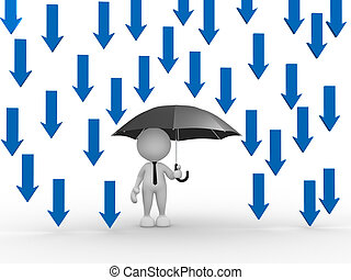 Umbrella - 3d people - man, person with umbrella and arrows....