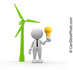 Turbine - 3d people - man, person with a wind turbine and a...