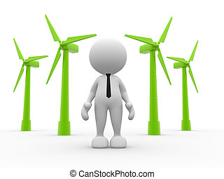 Turbines - 3d people - man, person and wind turbines....