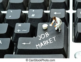 Job market - On line job market concept on keyboard enter...