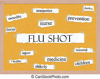 Flu Shot Corkboard Word Concept with great terms such as...