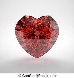 Ruby - 3D illustration of heart shaped ruby on white...