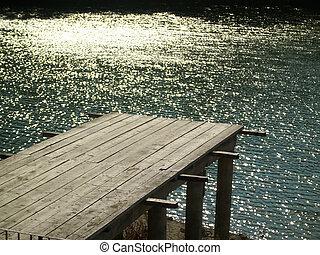 Romantic sunset with empty pier