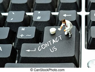 Contact us written on keyboard enter return button