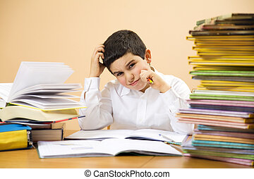 children - little boy has troubles with homeworks and is...
