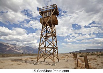 Historic Guard Tower at Manzanar National Historic Park -...