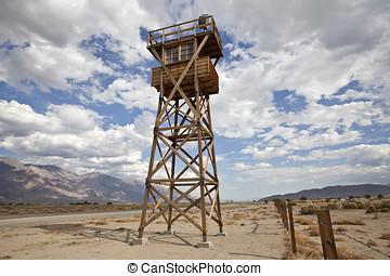 Historic Guard Tower at Manzanar National Historic Park -...