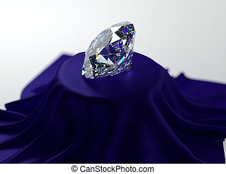 Diamond - 3D illustration of diamond on blue velvet