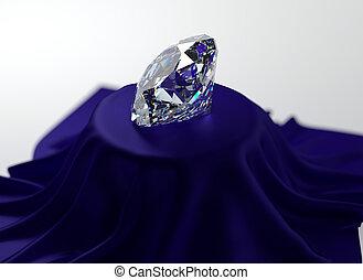 Diamond - 3D illustration of diamond on blue velvet