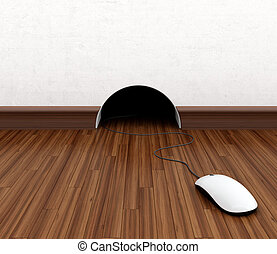 Computer mouse hidden in burrow. Fun concept.