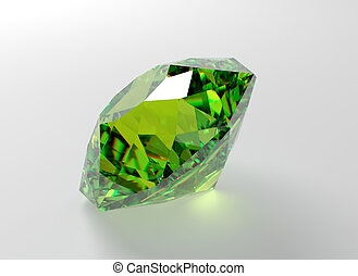 Emerald - 3D illustration of emerald isolated on white...