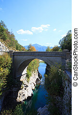 Bridge on the Soca river, Slovenia - View of Bridge on the...