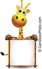cute giraffe with blank sign - vector illustration ofcute...