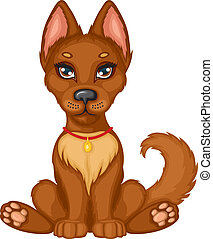Cute puppy - Cute brown puppy sits and wags his tail