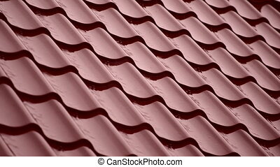 Rain on the red roof of house. HD