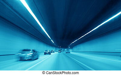 highway tunnel - blue night highway tunnel