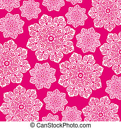 Hot Pink & White Floral Batik - White floral damask and...