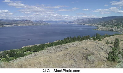 Lake Okanagan - Pan of Lake Okanagan and orchards near...
