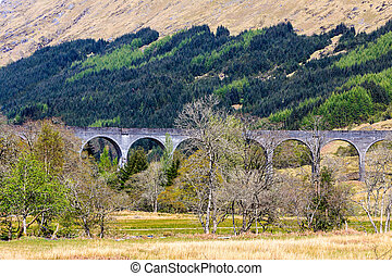Train bridge through a valley