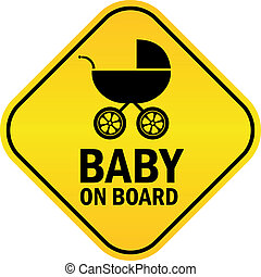 Baby on board vector sign on white background