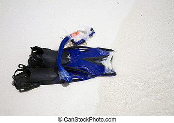 Snorkeling equipment on beach - Snorkeling tuba, mask and...