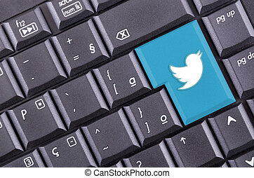 Twitter button on computer keyboard
