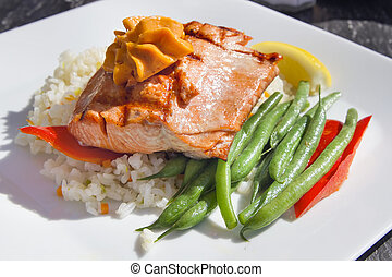 Grilled Salmon Fillet Over Basmati Rice with Butter -...