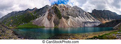 Mountain Lake in Marble Peak. Eastern Sayan. Republic of...