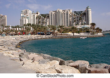 Vacation in Eilat Israel - Landscape view of big resort...