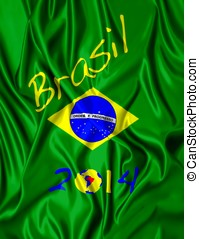 Brazil - Fabric illustracion Brazilian flag and date of 2014...