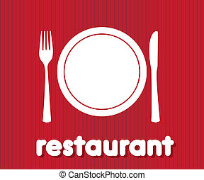 restaurant icon over red background. vector illustration