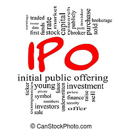 IPO Word Cloud Concept in red & black