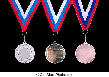 Three medals, Gold, Silver and bronze for the winners on the...