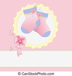 Cute template for baby postcard