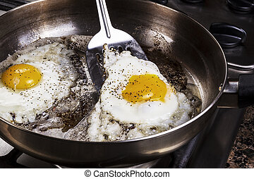 Eggs cooked with bacon grease in pan - Eggs in frying pan...