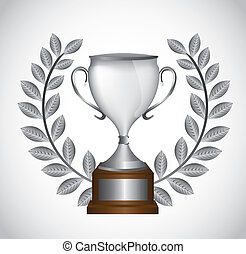 silver trophy with laurel wreath over gray background....