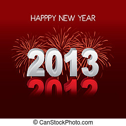 happy new year over red background, 2013 vector illustration...