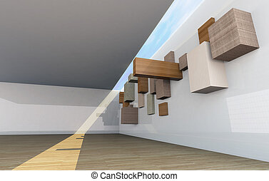 Abstract gallery interior with empty wood shelfs