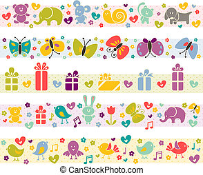 Cute borders with baby icons. - Cute borders with baby icons...