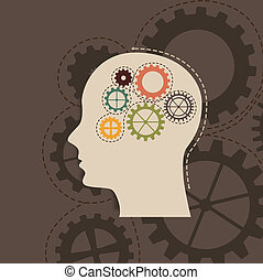 concept of the functioning with gears, vintage vector...