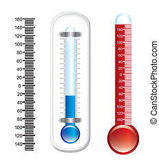 thermometer with numbers over white background vector