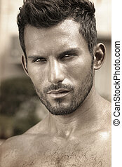 Classic handsome man up close - Stylized close detailed...