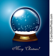 christmas snow globe - blue christmas snow globe, merry...