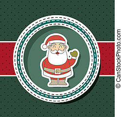 christmas card with santa claus over green background....