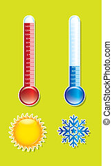 thermometer with sun and snowflake over green background....
