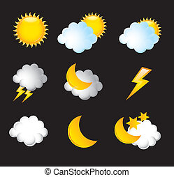 weather icons isoalted over black background vector...