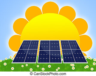 solar panel - illustration of solar panel for renewable...