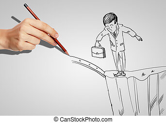 Businessman in risky situation - Drawing of a businessman in...