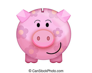Pig moneybox - Illustration of a cute pink money box